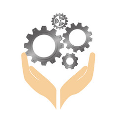 Hands human with gear machine isolated icon vector