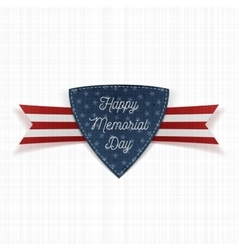 Happy Memorial Day realistic Emblem and Ribbon vector