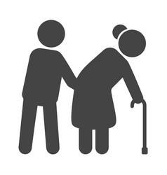 helping elderly black icon nursing service vector image