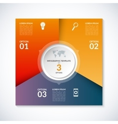 Infographic square template with 3 options vector