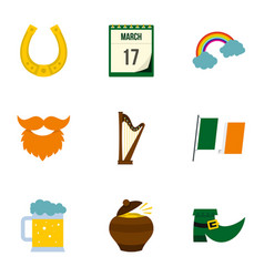 Irish holiday patrick icon set flat style vector