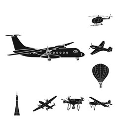 isolated object of plane and transport symbol set vector image