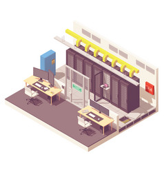 isometric data center interior vector image
