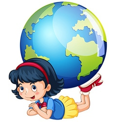 Little girl and the world vector image