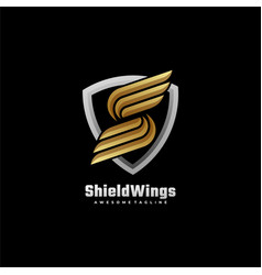 logo shield wings gradient colorful style vector image
