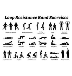 Loop resistance mini band exercises and stretch vector