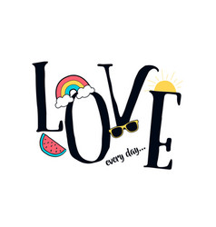 love slogan and patches vector image