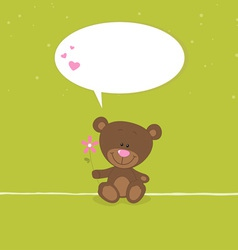 Lovely bear greeting card vector image