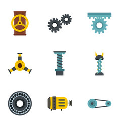 Machinery gear icon set flat style vector