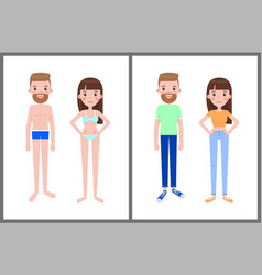 Man and woman in swimsuits and summer clothes vector