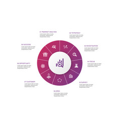 Market research infographic 10 steps circle design vector