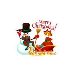 merry christmas snowman and gifts vector image