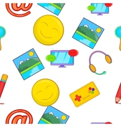 Messages over internet pattern cartoon style vector