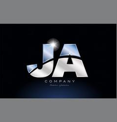 Metal blue alphabet letter ja j a logo company vector