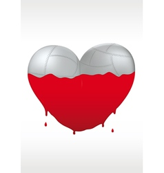 Metallic heart and liquid paint vector image