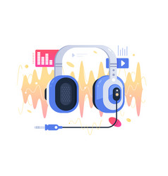 Modern technology icon headphones on sound wave vector