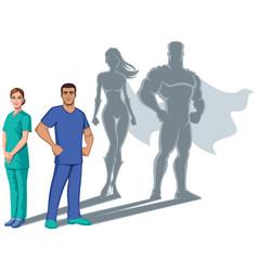 nurse superheroes shadow vector image