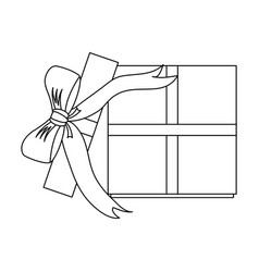 open gift box with ribbon bow icon image vector image