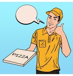 Pizza Delivery Man Holding a Pizza Box Pop Art vector image