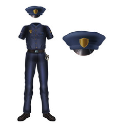 police uniform and cap policeman security costume vector image
