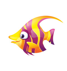 Pretty Smiling Striped Fish vector image