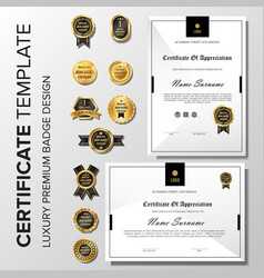 Professional minimalist certificate with badge vector