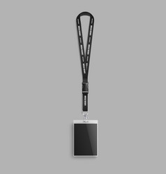 Realistic lanyard with blank id card on black neck vector