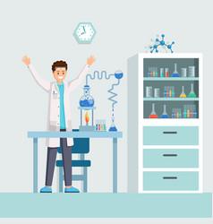 researchers success flat vector image
