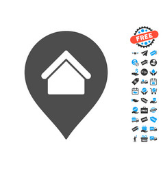 residence marker icon with free bonus vector image