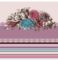 Retro wedding flower bouquets floral garden design vector image