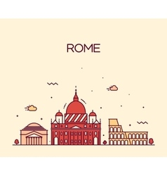 Rome City skyline detailed line art style vector image