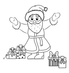 Santa claus and gifts black outline vector