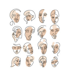 Set abstract face one line drawing portrait vector