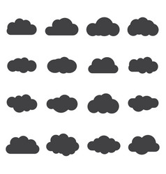set of silhouette flat style clouds safe secure vector image