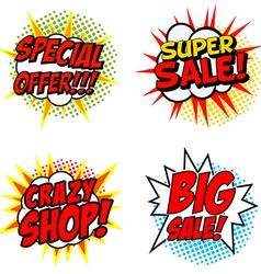 Set of Special Offer Super Sale Crazy SHOP Big vector