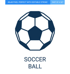 soccer ball icon in flat outline style vector image