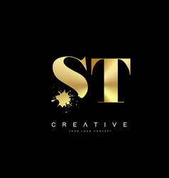 St s t letter logo with gold melted metal splash vector