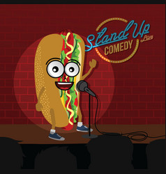 Stand up comedy hot dog open mic vector