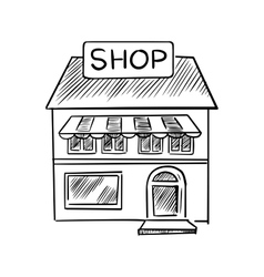 Store sketch with shop signboard vector