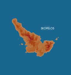 Topographic map of skopelos greece vector