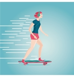 Urban girl is skating Flat style cartoon vector