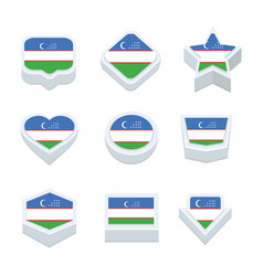 Uzbekistan flags icons and button set nine styles vector