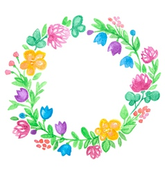 watercolor hand drawn floral frame vector image