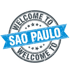 Welcome to sao paulo blue round vintage stamp vector