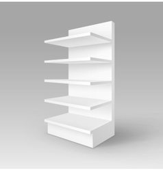 White Exhibition Trade Stand Rack with Shelves vector