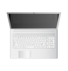 white laptop realistic top vector image