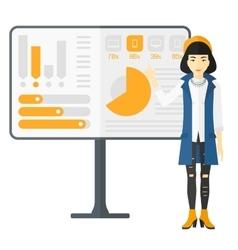 Woman presenting report vector