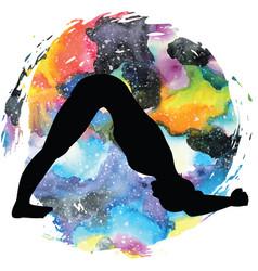 Women silhouette dolphin yoga pose ardha pincha vector