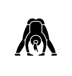 yoga black icon sign on isolated vector image