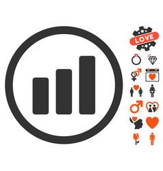 bar chart increase icon with dating bonus vector image vector image